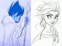 Elsa as the evil Snow Queen in the early sketches