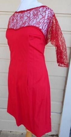 Red dress red lace dress plus size dress cocktail dress XL