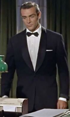 Sean Connery with Boss Hugo Boss Sky Gala Tuxedo Suit in Dr. No on TheTake.com