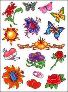 """Orange Sun and flowers Sheet Temporaray Tattoo by Tattoo Fun. $4.95. This 4 1/2"""" X 6"""" sheet of temporary tattoos says Summer with the beautiful flowers all throught the sheet. There is about 7 different kinds of flowers. All different style of flowers and all different colors as well. The amount of butterflies is minimal but they are beautifully colored."""