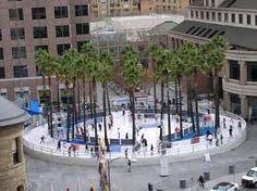 Downtown San Jose, California. Ice skating in December.