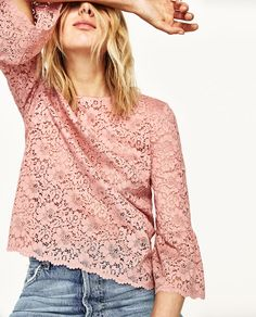 98ccf63de02 LACE TOP WITH FRILLED SLEEVES Pink Hightop Vans