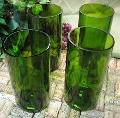 Recycled Wine Bottle Glasses - brilliant! Made by GreenGlassDesigns