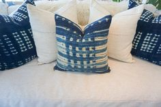 African Indigo Cloth Pillow Cover Blue Hand dyed Vintage Textile with Linen or…
