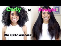 How to: Naturally Curly to Bone Straight Tutorial (No Heat Damage!) - YouTube