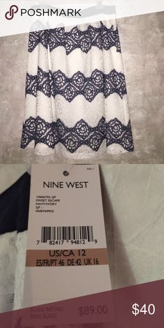 Nine West eyelet skirt Sz 12 *NEW* Retail $89 Nine West eyelet skirt. Sz 12. It is navy and ivory striped eyelets. Pictures do not do this skirt justice!  It is just gorgeous!  Retail is $89. Be sure to look at my other listings and try to build a bundle to save $!  This is a must have!! Nine West Skirts