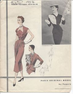"1953 Vintage VOGUE Sewing Pattern DRESS & JACKET B30"" (R494) By 'Paquin'  #VoguePaquin"