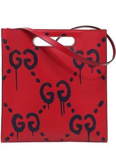 3c464e00cac7 GUCCI - GHOST PRINT LEATHER TOTE BAG - HANDBAGS - RED - LUISAVIAROMA グッチ(メンズ