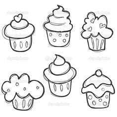 Cupcake Drawing Easy - All you need is a pastry bag and a closed star tip. Sketch the actual lines using a marker. Cupcake Sketch Vector Image On Cupcake Drawing Drawing For. Easy Drawings For Kids, Drawing For Kids, Art For Kids, Drawing Ideas, Drawing Drawing, Kids Fun, Doodle Drawings, Doodle Art, Cute Drawings