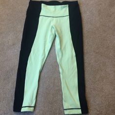 Lulu Lemon Lime/Black Bonded Stripe Under Crops These leggings are so comfy! Great for running or yoga. They have a very small amount of pilling between the legs, but overall great condition, just too small for me! Price negotiations. lululemon athletica Pants Leggings