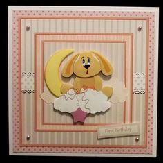 baby rabbit on the moon card with decoupage on Craftsuprint designed by Angela Wake - made by Suzi Cooper
