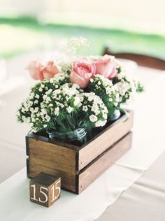 Top 15 Must See Rustic Wedding Ideas--Rustic country wooden box wedding centerpieces with florals, diy table settings. Wooden Box Centerpiece, Rustic Wedding Centerpieces, Wedding Table Decorations, Diy Centerpieces, Wedding Table Settings, Decoration Table, Quinceanera Centerpieces, Centerpiece Flowers, Rustic Wooden Box