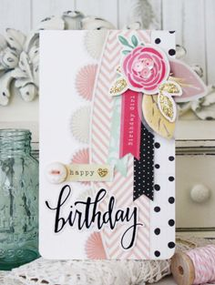 My Creative Scrapbook May Main kit designed by guest designer Melissa Phillips. Bday Cards, Happy Birthday Cards, Planners, Album Scrapbook, Scrapbooking, Beautiful Handmade Cards, Card Making Inspiration, Pretty Cards, Card Tags