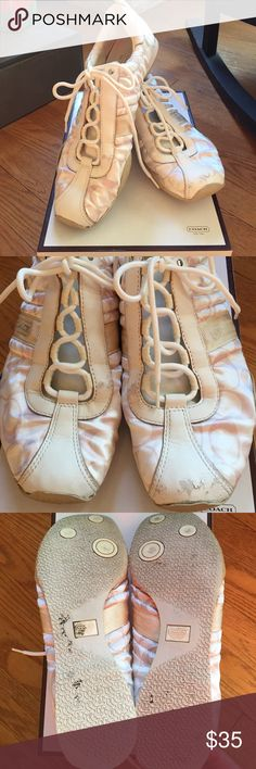 Kelsie Coach sneakers. 👍 Cute white satin feel sneakers by Coach. In good condition, comes with box.  Purchased at Bloomingdales.  Some scuffing to left toe, as shown. Coach Shoes Sneakers