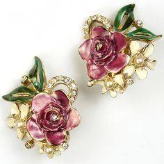 Reja Gold Pave and Metallic Enamel Purple Rose and Posy Clip Earrings