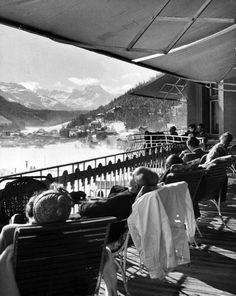 """One of the original """"spa cures"""" — resting in the alps in St. Moritz, Switzerland,1947. Photograph by Alfred Eisenstaedt."""