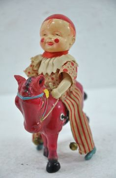 Vintage Wind Up Circus Clown / Joker Riding Horse Celluloid Toy , Japan Antique Toys, Vintage Toys, Vintage Antiques, Clowning Around, Circus Clown, Comic Character, Wall Plaques, Mermaid, Japan