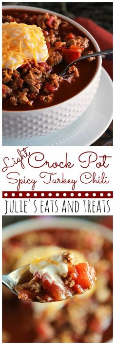 Light Crock Pot Spicy Turkey Chili ~ Delicious Light Chili Recipe with a Kick! Only Six Ingredients to a Healthy Dinner Recipe! ~ https://www.julieseatsandtreats.com