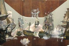 "Pete Hawkins - ""The battle of Trafalgar"". This is my absolute favourite of his School desk art on scribbles and doodles... Contains of 3 pieces of wood, showing the battle of Trafalgar in a bath tub! Genius!"