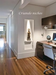 Built in wall shelf for Holy statues. Idea for displaying Holy Catholic statues in the home. Lighted shelf in wall. displaying Holy statues in the home. Altar Design, Niche Design, Prayer Corner, Home Altar, Pooja Rooms, Prayer Room, Condo Living, Interior Decorating, Interior Design