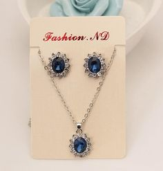 new Blue Sapphire Crystal Jewelry Set Earrings / Pendant Necklace Bridal Wedding Jewelry Sets For Women Bijoux Strass Cristal