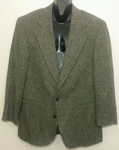 Chaps Ralph Lauren Brown 100% Wool Tweed Blazer Sport Coat Jacket 2 Btn Size 40R #Chaps #TwoButton
