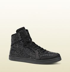 High-Top Sneaker With Crystal Studs | Gucci