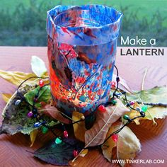 Make a Lantern with Crayon Shavings and Leaves :: Tinkerlab.com