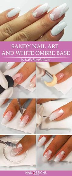 Super Easy Aeropuffing Nail Art Tutorials To Do At Home: Sandy Nail Art and White Ombre Base #nails; #nailart; #ombre; #tutorial