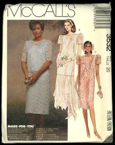 Mccalls 3532 Vintage Mother Of The Bride Wedding Dress Sewing Pattern Size 14 Bust