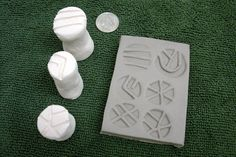 Bisque Stamps for Making Impressions in Clay set of by GWizPottery, $10.00
