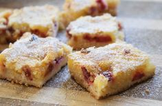 rhubarb lemon bars - I made these - they are really good and I didn't even miss the high fat white flour crust from a traditional lemon bar!