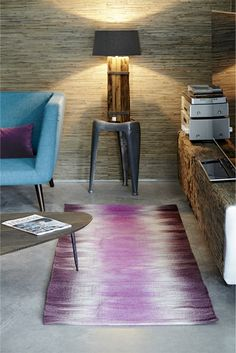 TIE-DYE wool rug in pink/burgundy - available in sizes 55 x 120 cm, 70 x 200 cm, 140 x 200 cm, 200 x 300 cm. Also available in khaki/grey, blue and black/white!