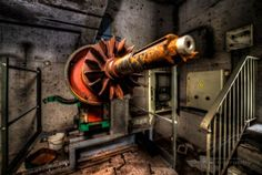 This is the only remainder in a small room – everything else got stolen. One can only assume that this engine was once driving the ventilation of the main… Urban Exploration, Small Rooms, Horses, Explore, Engine, Shots, Photography, Street, Small Bedrooms