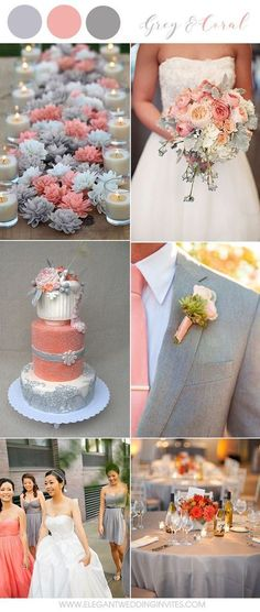 Warm Grey and Coral Country Wedding Colors for 2018