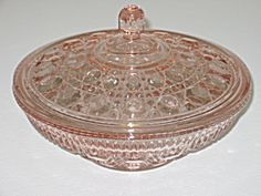 Indiana Glass Windsor Pink Covered Candy Bowl. Click on the image for more information.