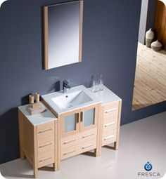 "Fresca 48"" Light Oak Modern Bathroom Vanity w/ 2 Side Cabinets, Mirror, & Faucet RP by http://john-delgado-dch-paramus-honda.socdlr.us"