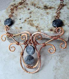 Hammered Copper Wire bookmark | Larvikite Divinity in Copper Filigree by DebrasDivineDesigns