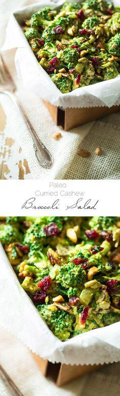 Paleo Curried Cashew Broccoli Salad - A Healthy Broccoli Salad with a spicy kick that is healthy, dairy free, paleo friendly and SO easy! Always a crowd pleaser! | Foodfaithfitness.com | @FoodFaithFit