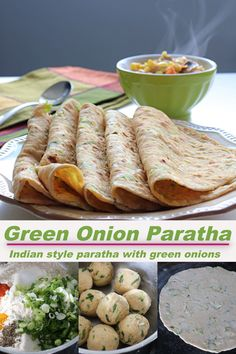 Delicious and flavorful indian style paratha made from wheat flour, green onions and some spices. #paratha #indianparatha Vegetarian Chili, Vegetarian Recipes, Cooking Recipes, Healthy Recipes, Indian Flat Bread, Indian Food Recipes, Ethnic Recipes, Recipe Community, Green Onions