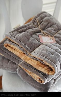 Love This Grey Velvet Quilt With Gold Reverse ❤ Velvet Quilt, Linen Bedding, Grey Comforter, Soft Furnishings, Home Accessories, Comforters, Bedspreads, Home Goods, Sweet Home