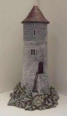 Hudson & Allen Studio Medieval Model Watchtower for Tabletop Miniature Wargames Medieval Tower, Medieval Houses, Model Castle, Warhammer Terrain, Wargaming Terrain, Fantasy House, Fantasy Miniatures, Stone Houses, Miniature Houses