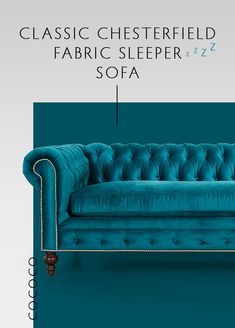 """Let your guests sleep in style with our Classic Chesterfield Fabric Sleeper Sofa. Shown here in Thompson line """"Caspian"""". Living Room Sofa, Living Room Furniture, Living Room Decor, Luxury Sofa, Sleeper Sofa, Living Room Inspiration, Creative Home, Home Decor Furniture, Sofa Design"""