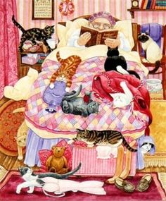Linda Benton, 'Grandma and 10 cats in the bedroom'