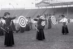 Archery at the London Olympics 1908, including hats.