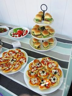 tiny food party theme.  Yummy looking mini pizzas