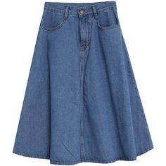 A-Line Washed Denim Skirt ($41) ❤ liked on Polyvore featuring skirts, a line skirt, blue denim skirt, knee length a line skirt, blue skirt and a line denim skirt