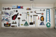 DIY Garage Organization. A key garage organization idea to save you time and money is IdealWall. Store all your equipment and tools off the floor and on the wall. Learn More - http://www.benchsolution.com/products/idealwall/
