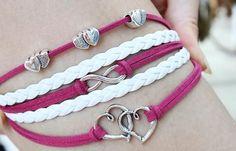 Alloy Anchor Rudder Leather Friendship Love Couple Charm BraceletBracelets | RoseGal.com