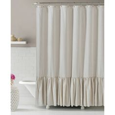 Gabriella Natural Linen Shower Curtain - At Home
